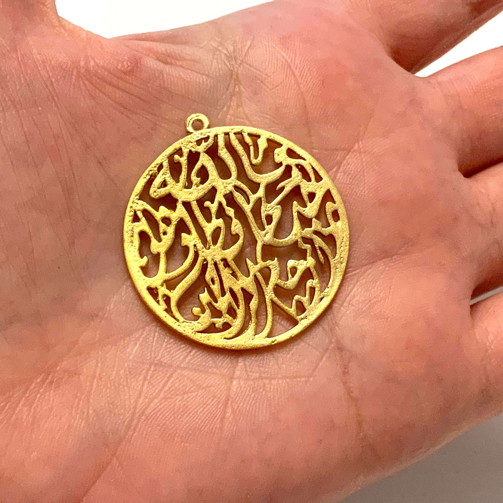 24Kt Matte Gold Plated Large Authentic Pendant, 34mm Large Gold Pendant