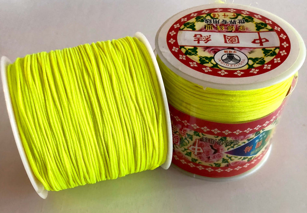 1MM Neon Yellow Knotting Braided Nylon Cord Shamballa Macrame Beading String