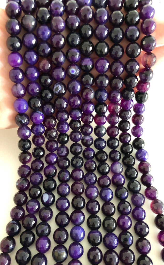 Purple Agate faceted 10mm, 40 beads per strand,Beads,Gemstone Beads,Natural Gemstone