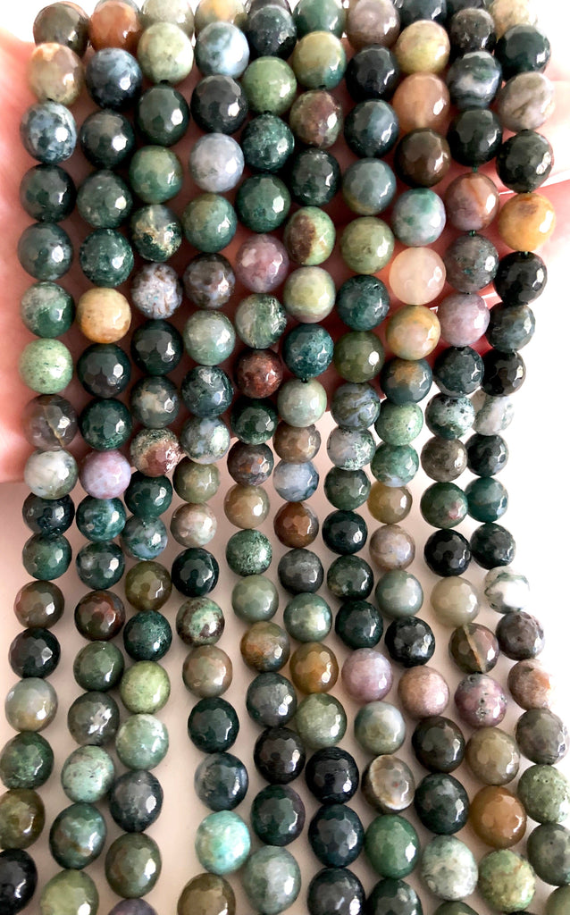 Indian Agate faceted 10mm, 40 beads per strand,Beads,Gemstone Beads,Natural Gemstone