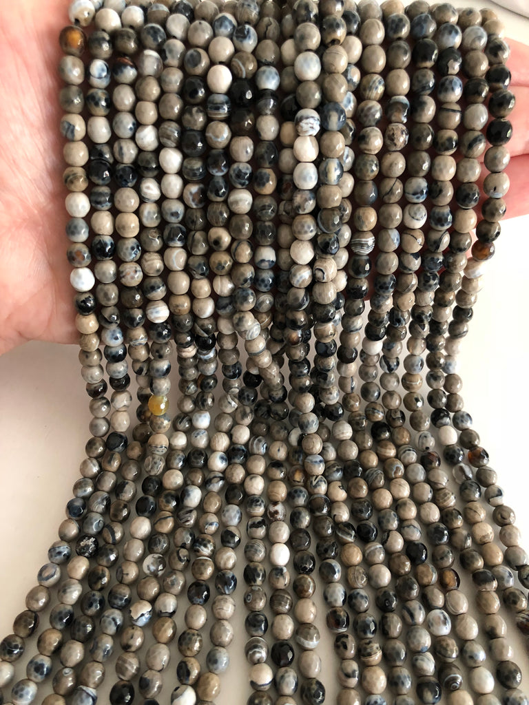 Agate faceted 6mm, 62 beads per strand,Beads,Gemstone Beads,Natural Gemstone