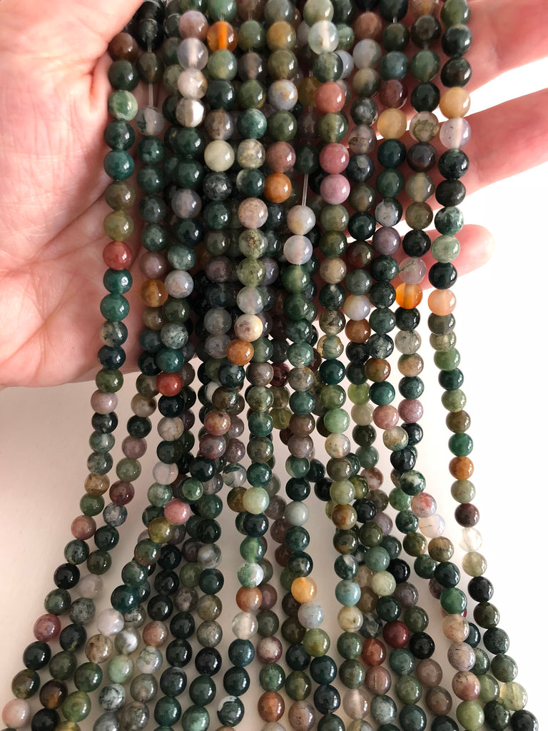 Indian Agate  6mm, 62 beads per strand,Beads,Gemstone Beads,Natural Gemstone