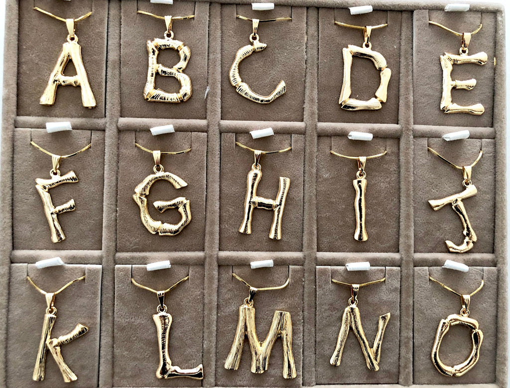 Initial Pendants,Initial Alphabet Letter Pendants in 18k Gold Tone Bamboo Rustic Style A to Z,