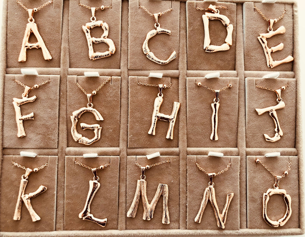 Initial Pendants, Initial Alphabet Letter Pendants in Rose Gold Tone Bamboo Rustic Style A to Z,