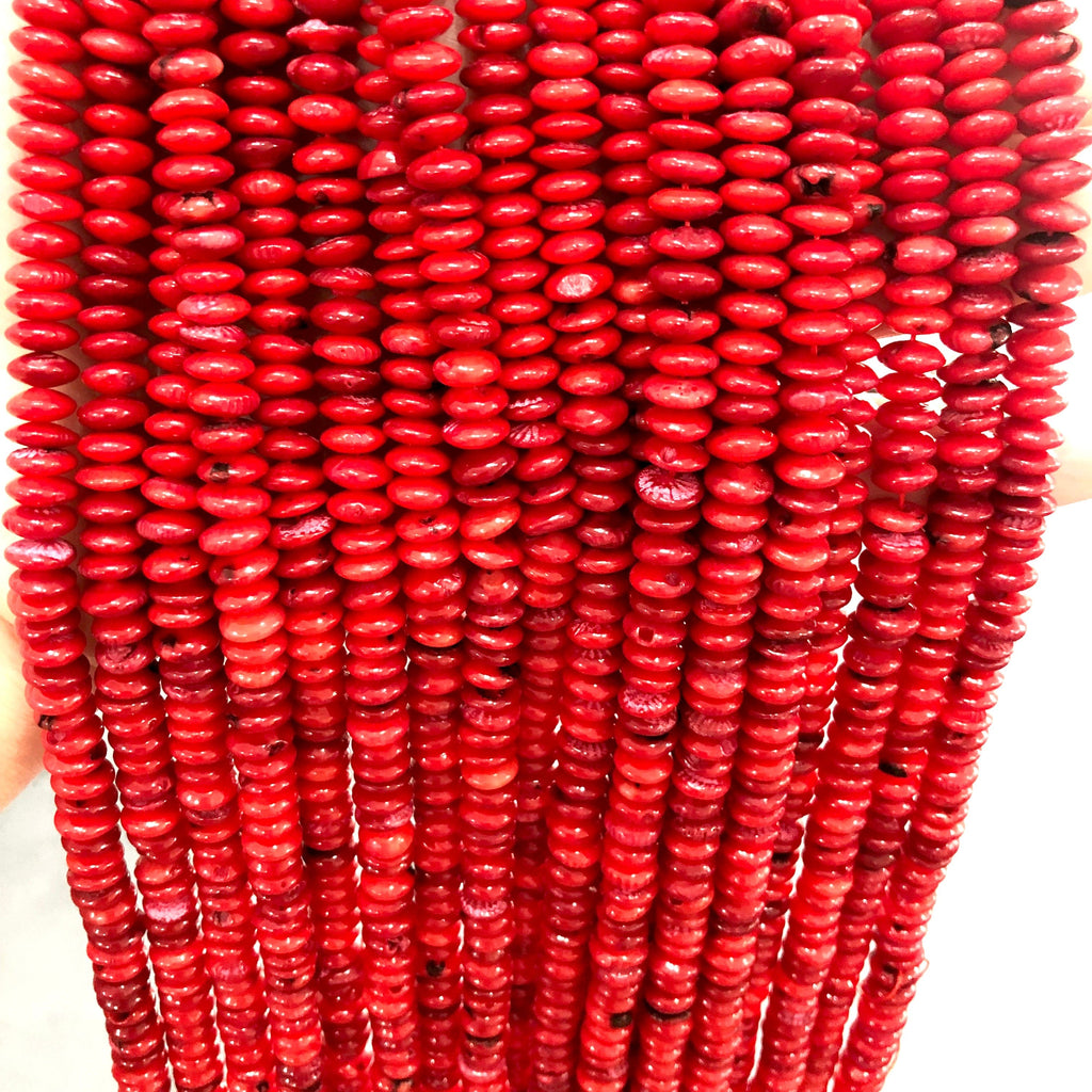 Red Coral 7mm Rondelle Beads, 125 Beads per strand
