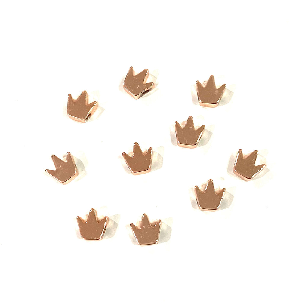 10 pcs Rose Gold Plated 6mm Crown Charms,  Rose Gold Plated 6mm Crown Spacers