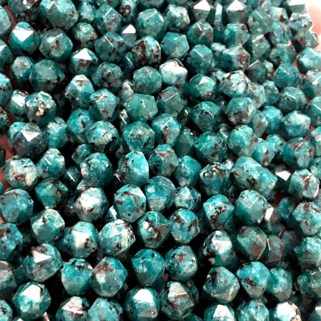 Chrysocolla Jade  8mm Star Cut Faceted Natural Gemstone Beads, Chrysocolla Jade  Star Cut Beads, 46 Beads