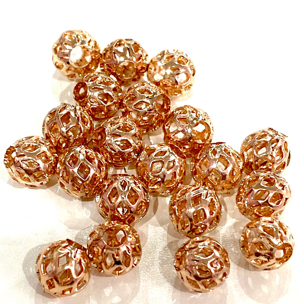 Rose Gold Plated Brass Filigree Spacer 4mm Balls, 20 pcs in a pack