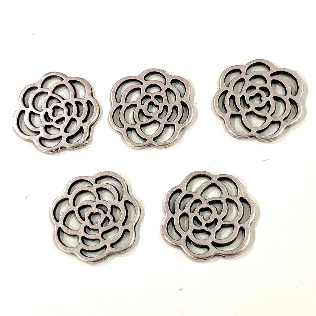 Antique Silver Plated Flower Charms, Silver Plated Flower Charms