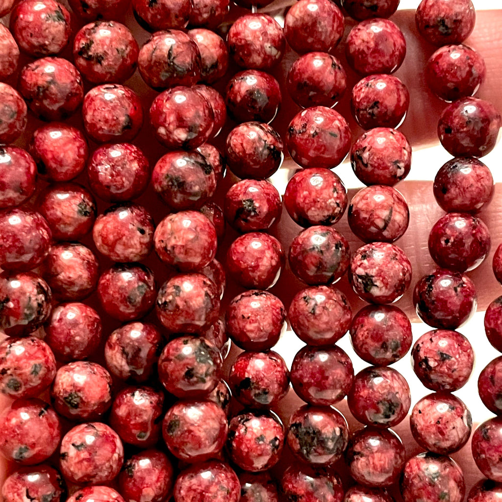 Vine Red Jade(dyed) Beads, 8mm Round Beads, 15.5 Inch, Full strand, Approx 48 beads, Hole 1mm, A quality