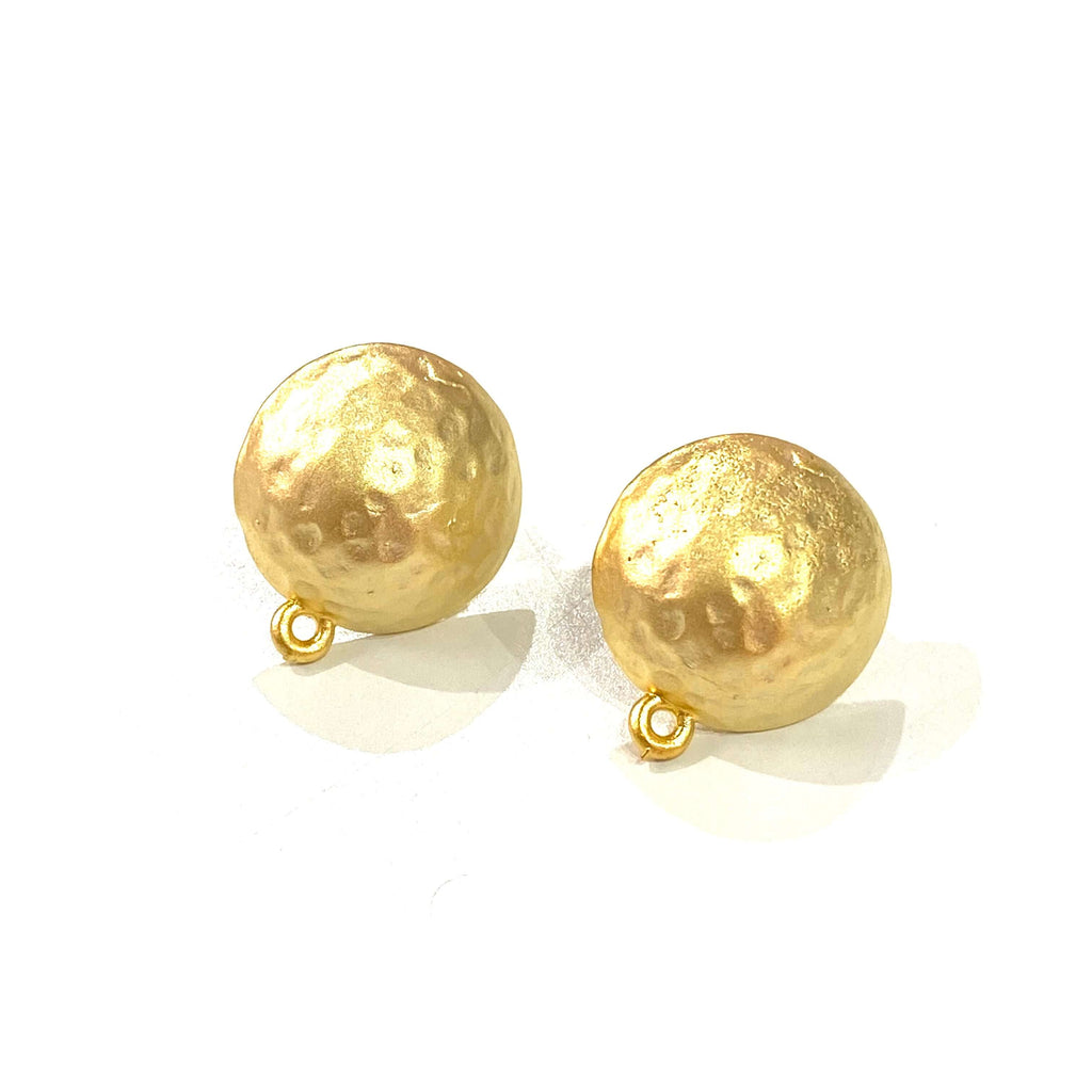 24Kt Matte Gold Plated Brass Ball Stud Earrings, 2 pcs in a pack,