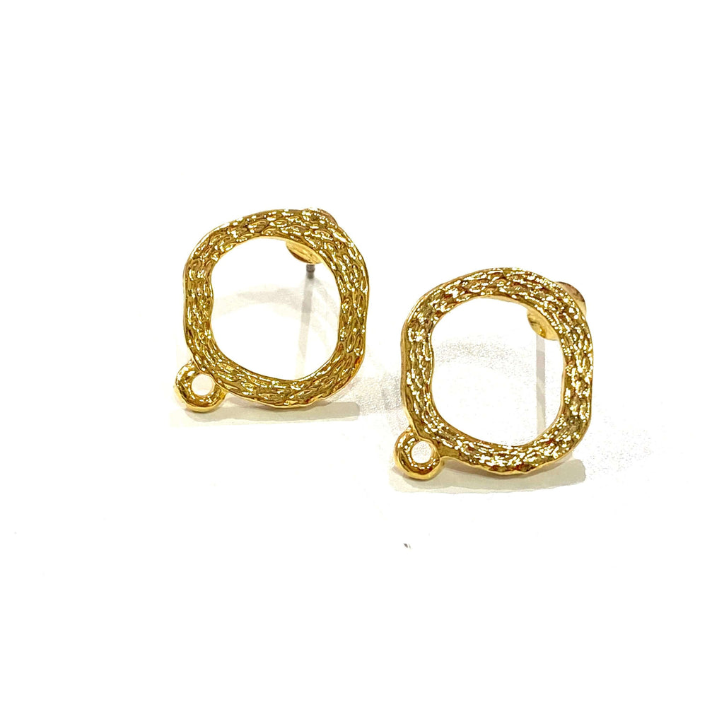 24Kt Matte Gold Plated BrassStud Earrings, 2 pcs in a pack,