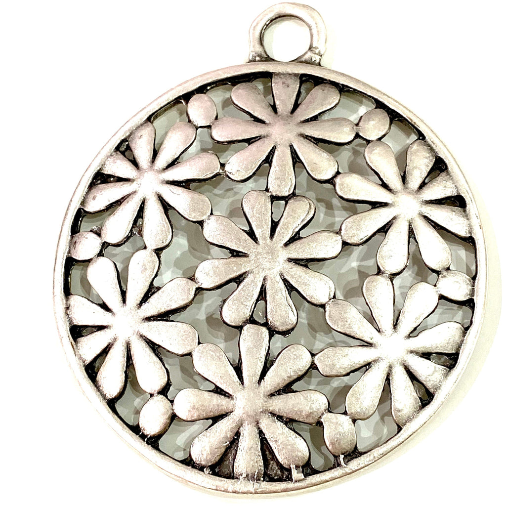 Antique Silver Plated Large Authentic Pendant,  54mm  Large Silver Authentic Pendant,