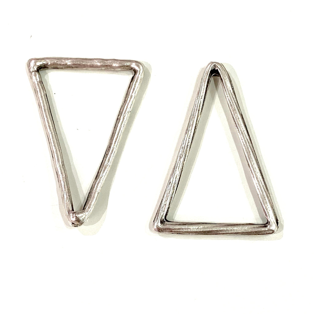Antique Silver Plated Large Triangle Pendant, Large Silver Triangle Pendant, 39mm 2 pcs in a Pack