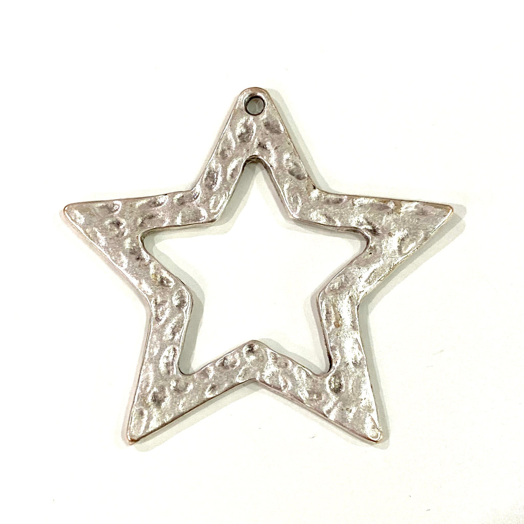 Antique Silver Plated Large Star Pendant, Large Silver Star Pendant, 45mm