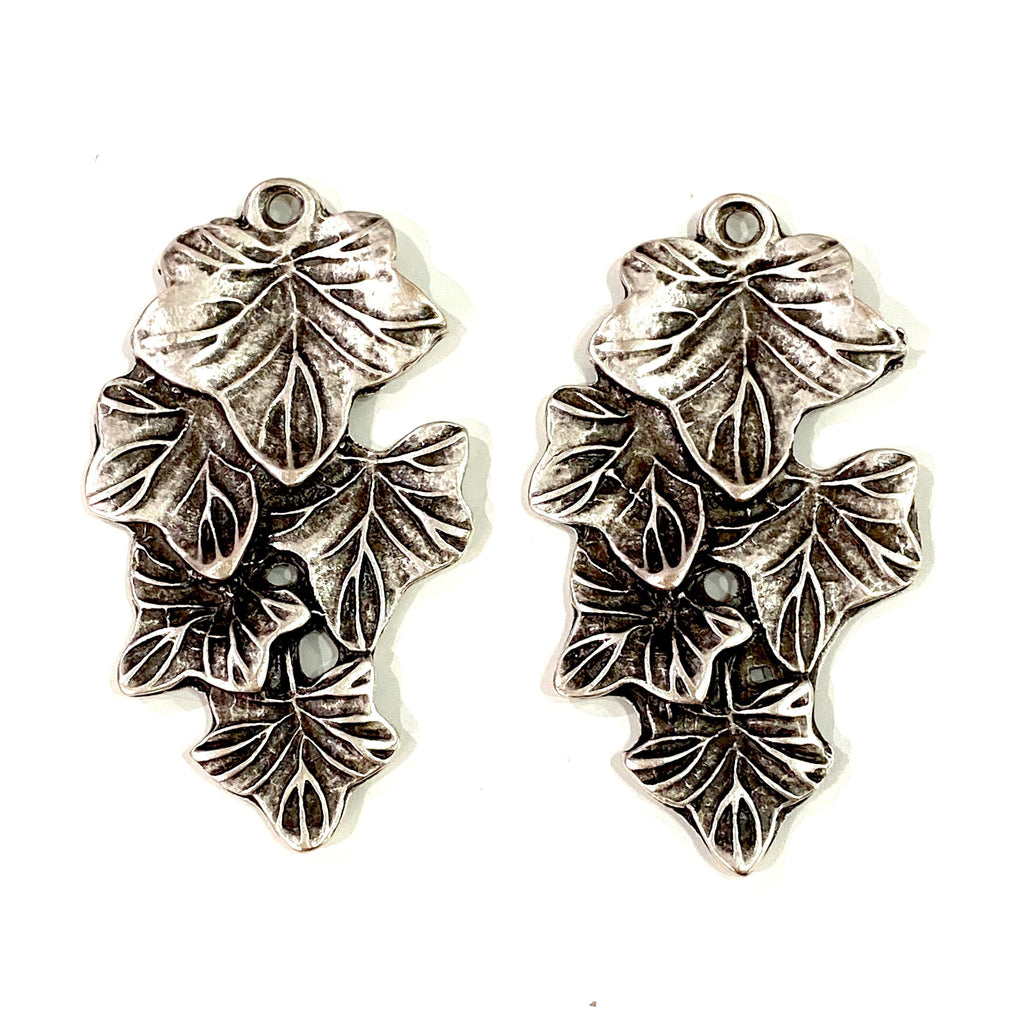 Antique Silver Plated Large Leaf Pendants, Silver Leaf Pendants 50mm, 2 Pcs in a Pack