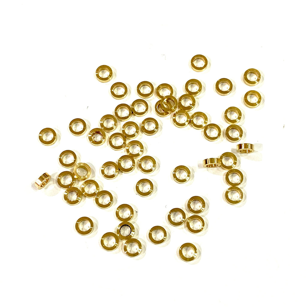 Gold Plated Spacer Charms, 4mm Gold Spacer Charms,50 pcs in a pack, 3mm hole