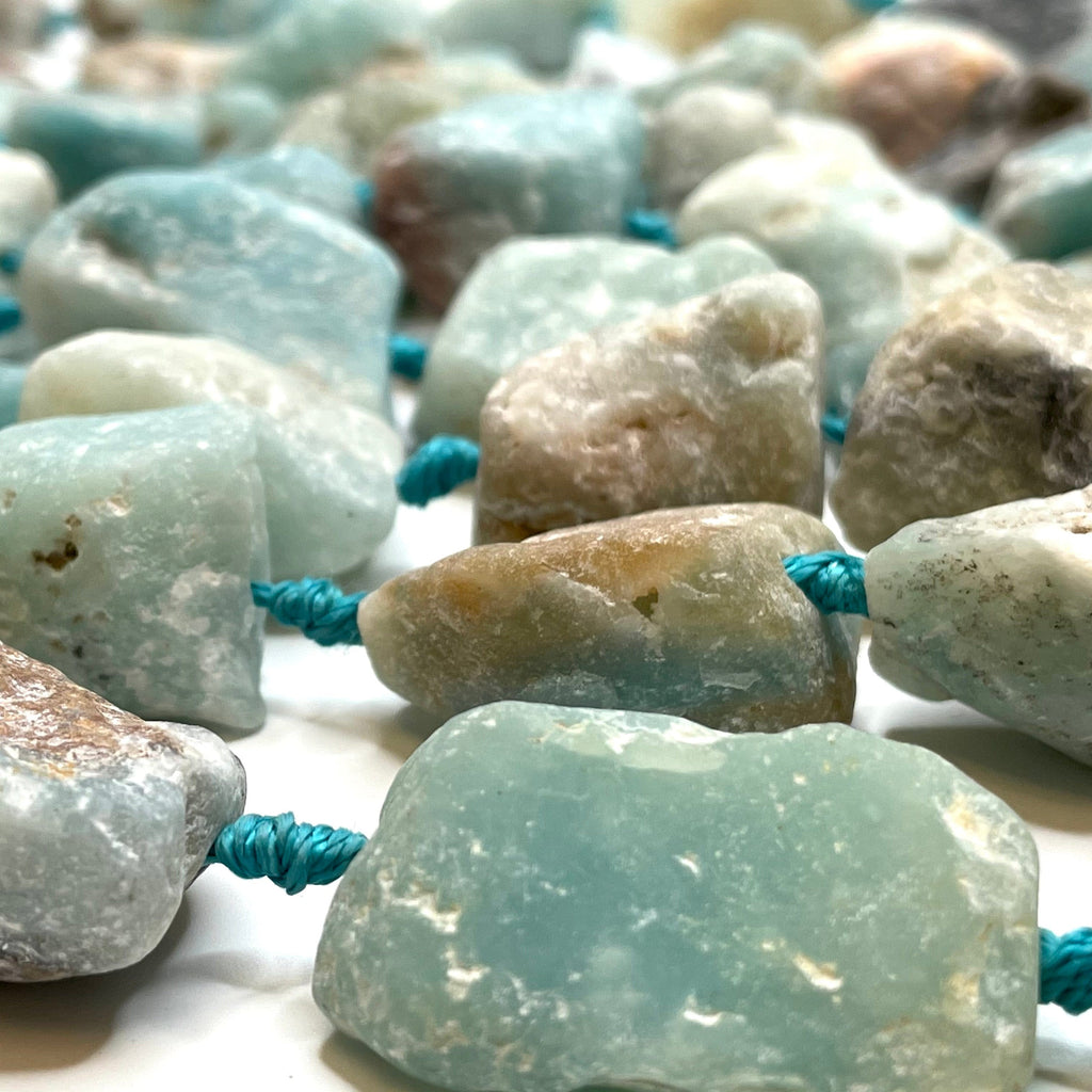 Genuine Amazonite Chunks, Raw Amazonite Bead Nuggets, 13 to 15 Beads Strand