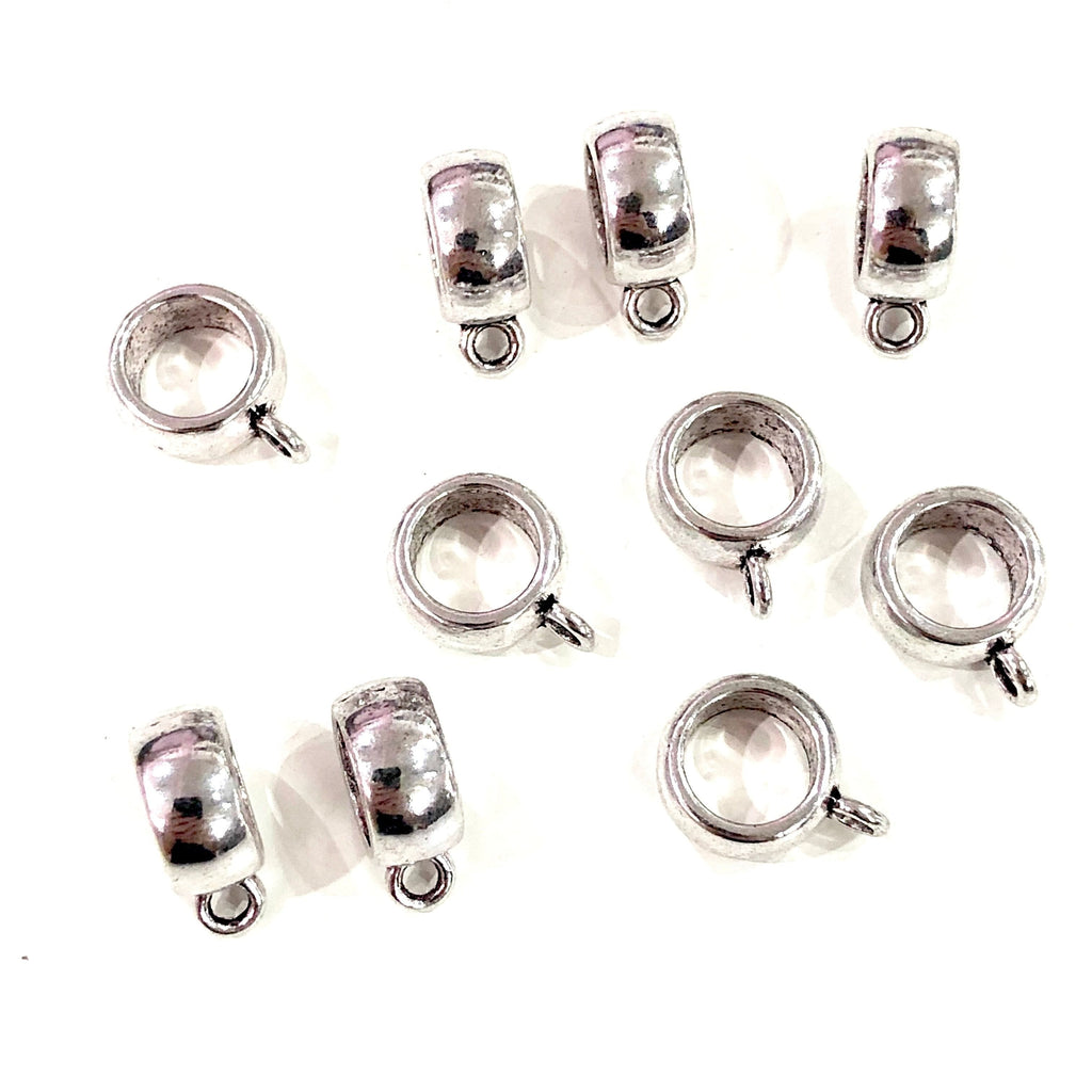 Silver Bails, Silver Spacers, 15x11 mm, Large Hole Silver Spacers