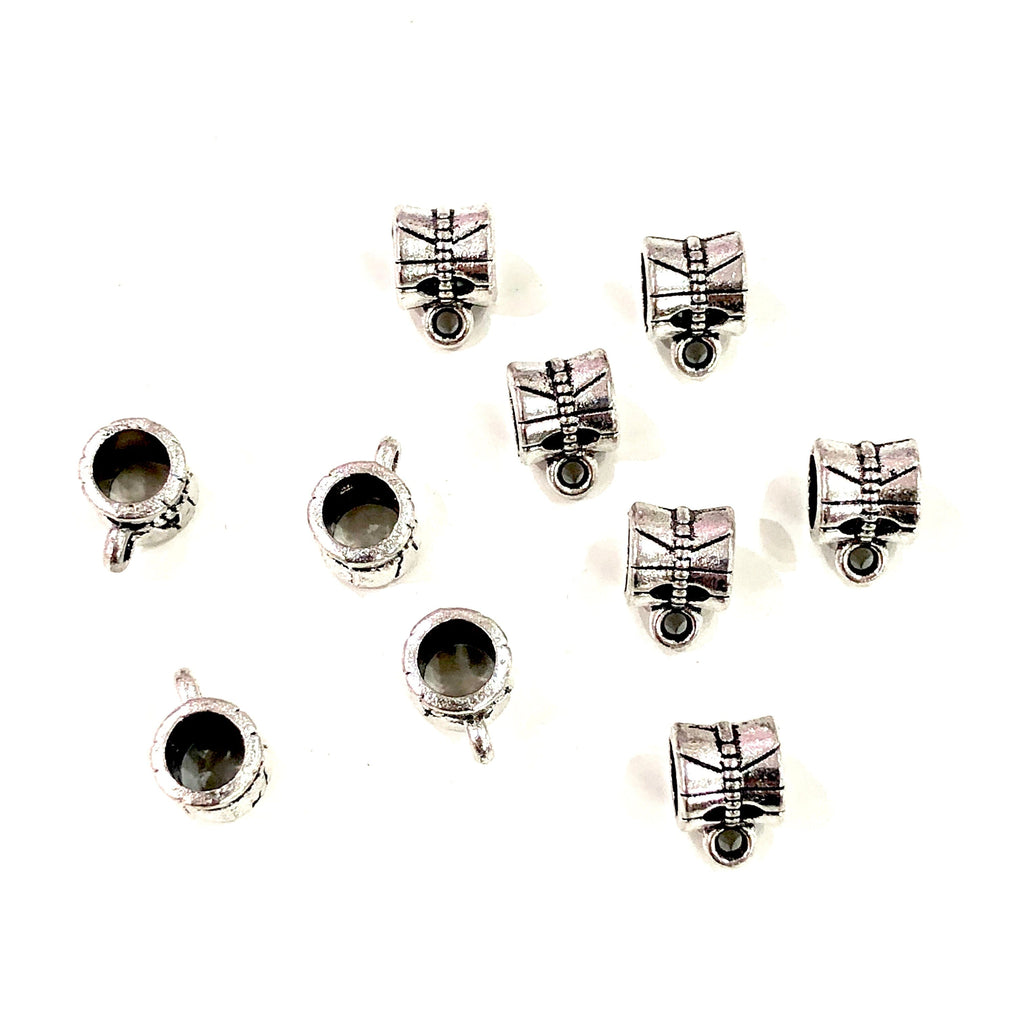 Silver Bails Silver Spacers, 9x7 mm, Large Hole Silver Spacers