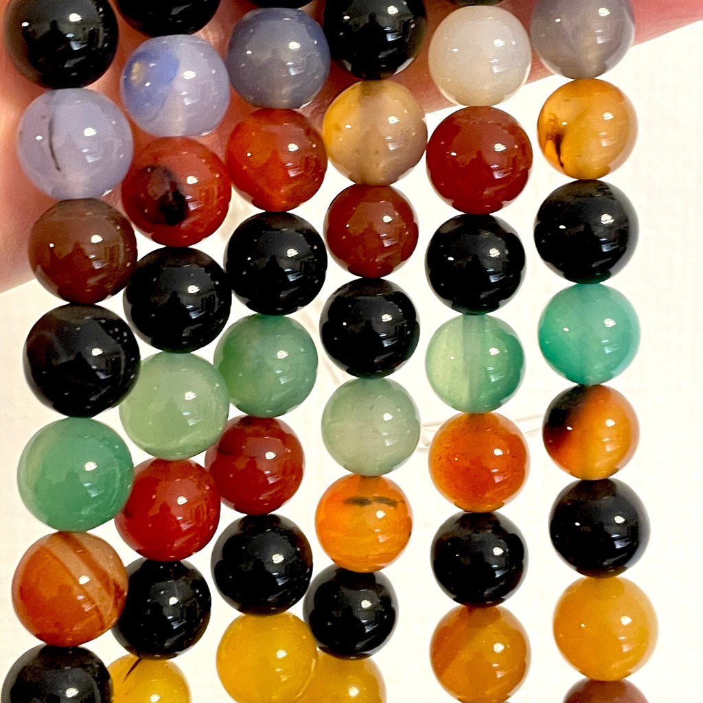 Genuine Multicolor Agate 12 mm round beads , full strand 33 beads,Beads,Gemstone Beads,Natural Gemstone