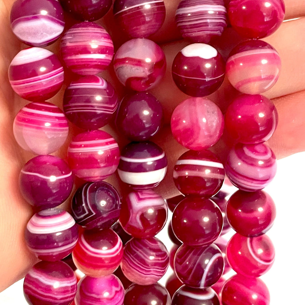 Genuine Deep Pink Agate 12 mm round beads , full strand 33 beads,Beads,Gemstone Beads,Natural Gemstone
