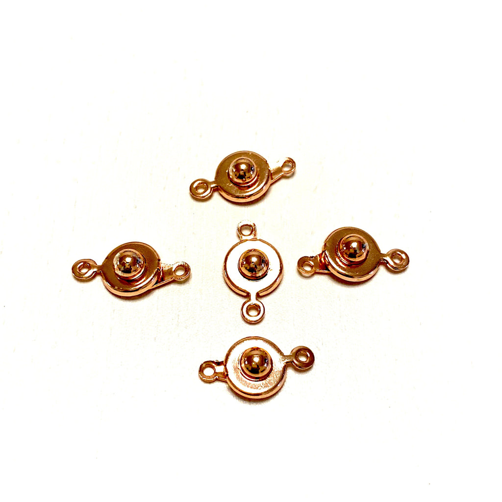 "Rose Gold Plated Ball and Socket ""Snap"" clasps, 9mm Ball and Socket ""Snap"" clasps"