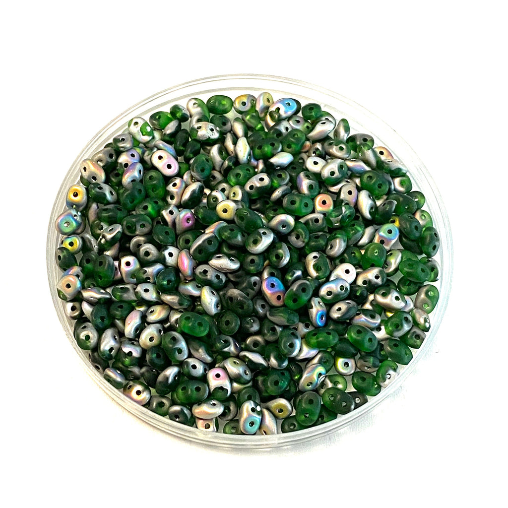 Matubo Superduo Beads 2.5X5mm, Chrysolite Vitrail Matte, Superduo Beads