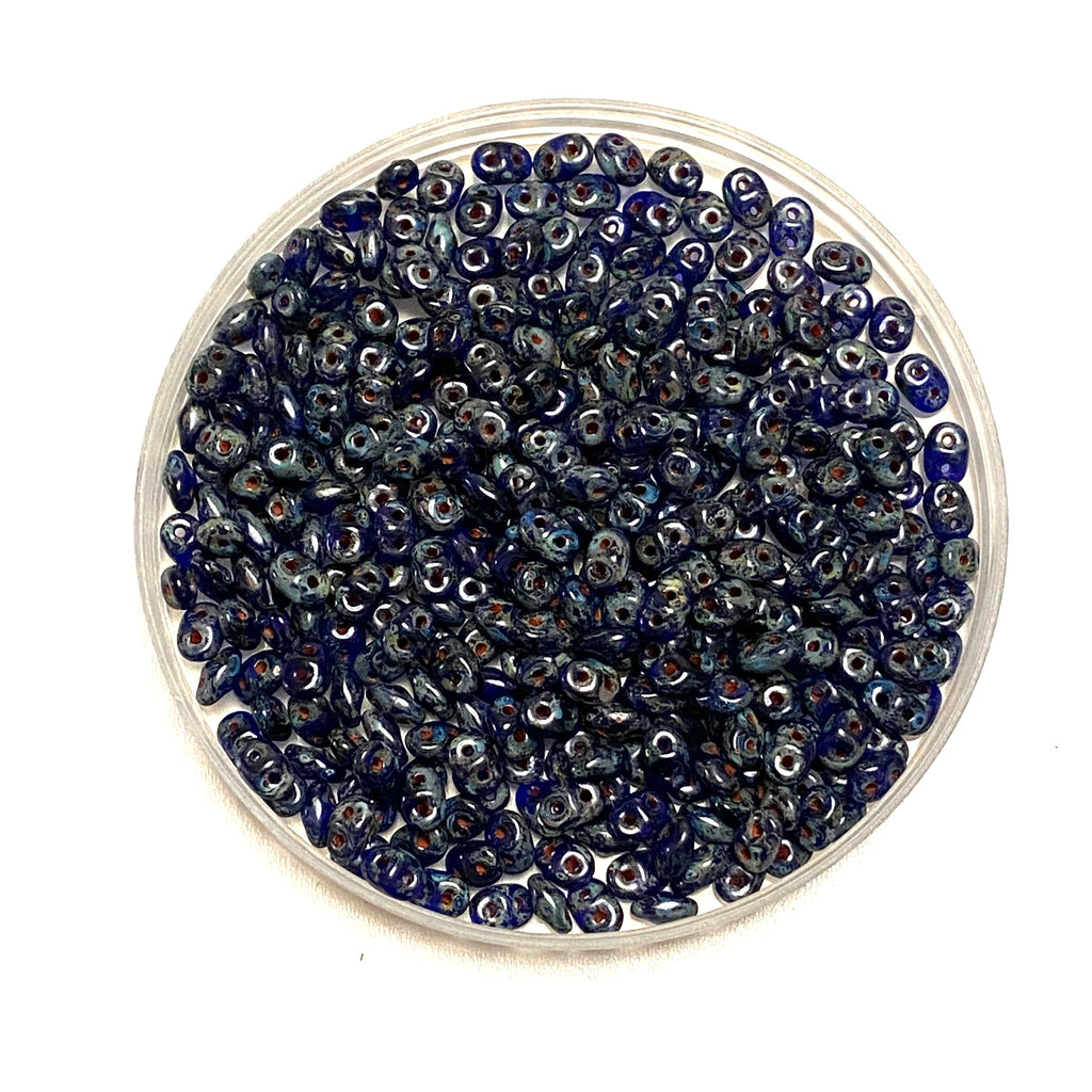 Matubo Superduo Beads 2.5X5mm, Cobalt Travertine , Superduo Beads