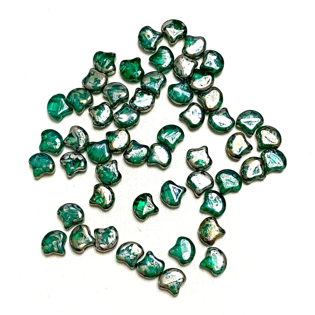 Matubo Ginko Duo Beads 7,5X7,5 mm ,Emerald Rembrandt, Ginko Duo Beads, 40 Beads Pack