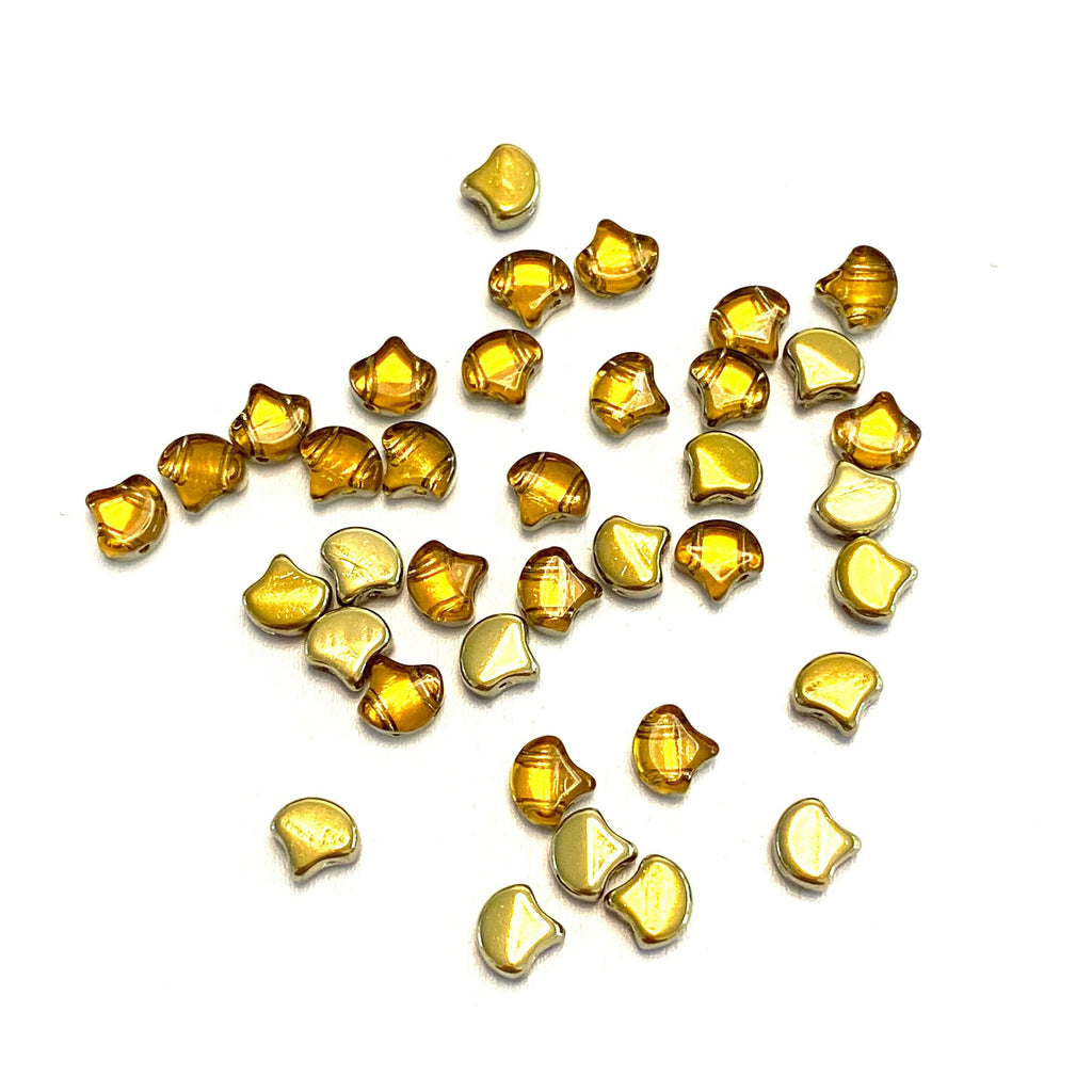 Matubo Ginko Duo Beads 7,5X7,5 mm ,Backlit Golden Ice, Ginko Duo Beads, 40 Beads Pack