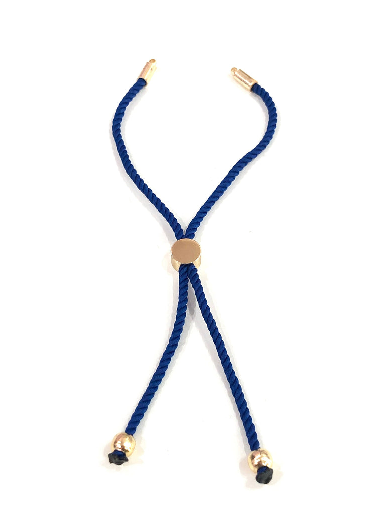 Royal Blue Cord Bracelet, Friendship Bracelet, Adjustable Bracelet Blanks, 2mm Cord Bracelet Blanks, Adjustable Sliding Gold Clasp,