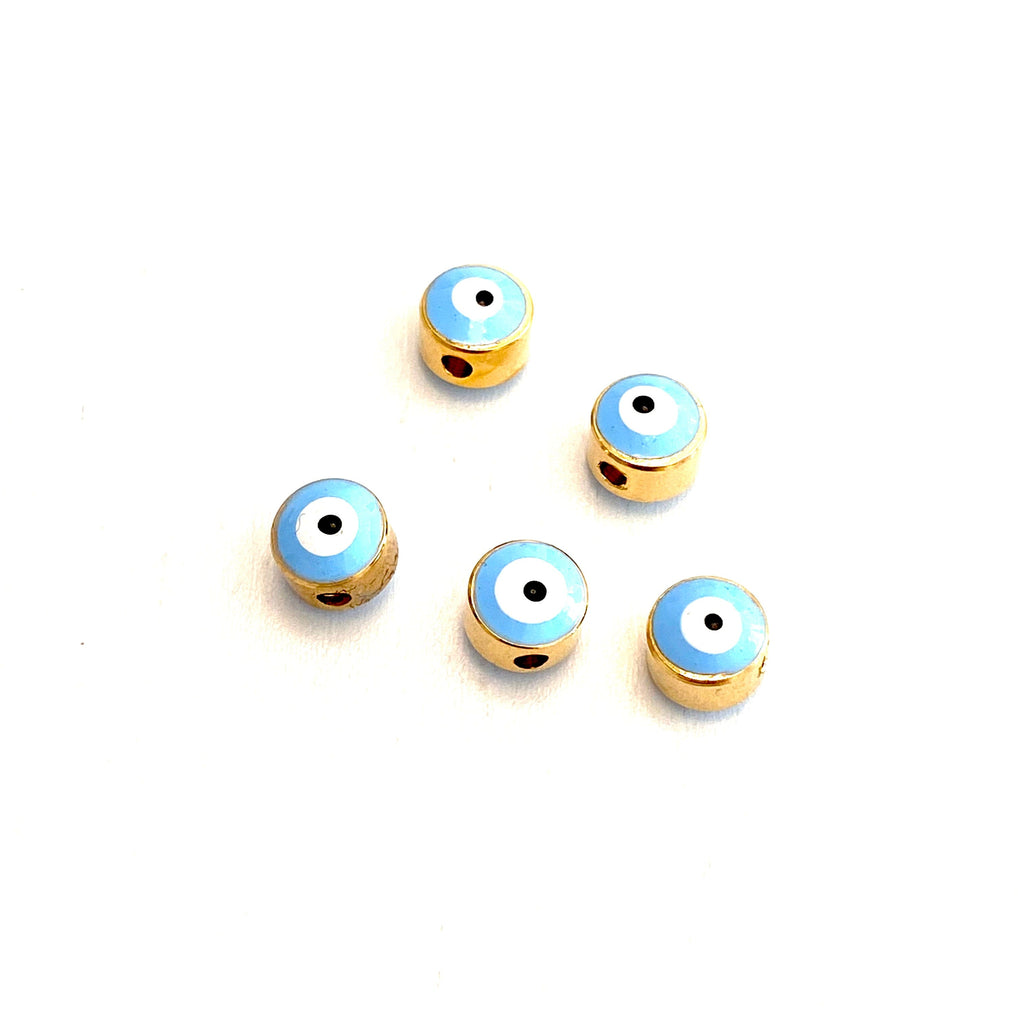 7mm 24K Gold Plated Evil Eye Spacers 5 Pcs in a Pack 7mm 24K Gold Plated Evil Eye Beads
