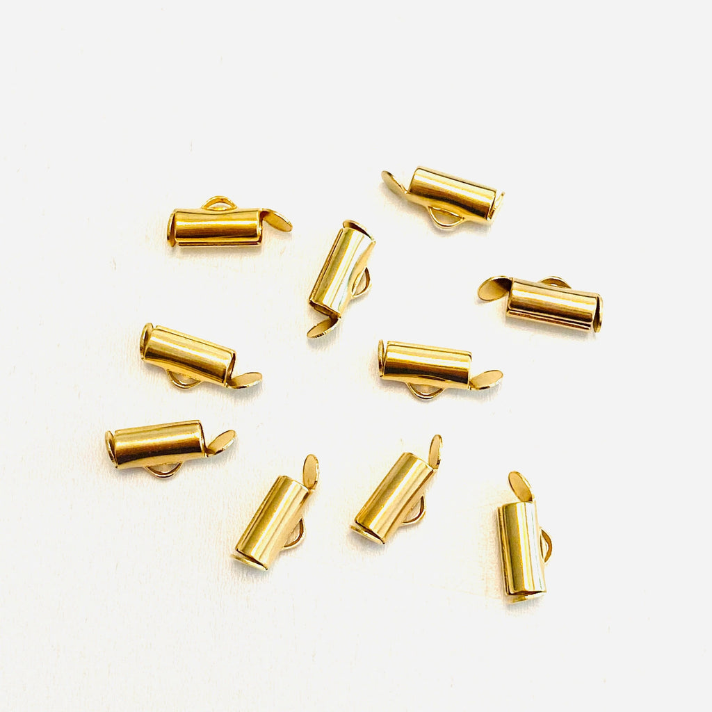 Miyuki Slide End Tubes, 10mm Gold Plated 10 Tubes in a pack