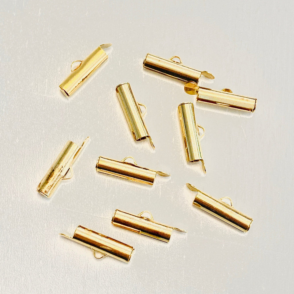 Miyuki Slide End Tubes, 15mm Gold Plated 10 Tubes in a pack