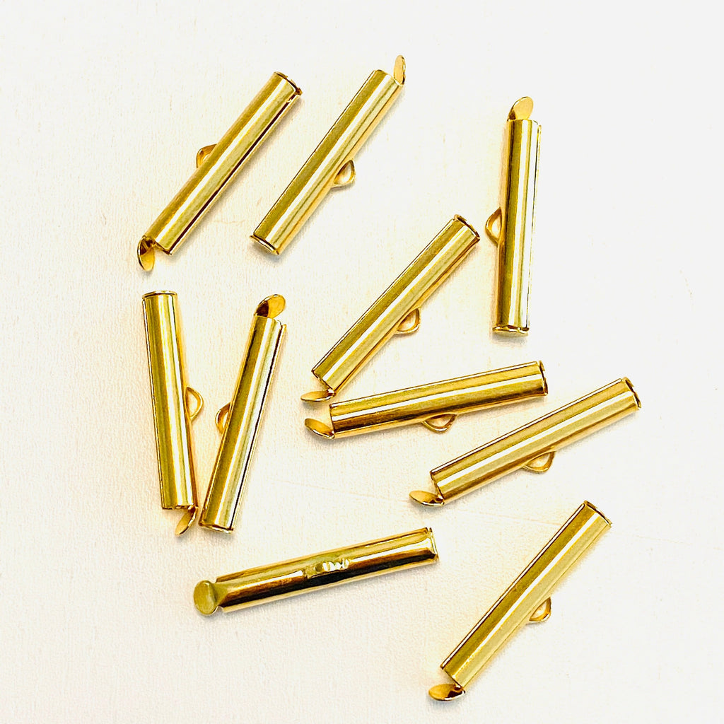 Miyuki Slide End Tubes, 25mm Gold Plated 10 Tubes in a pack