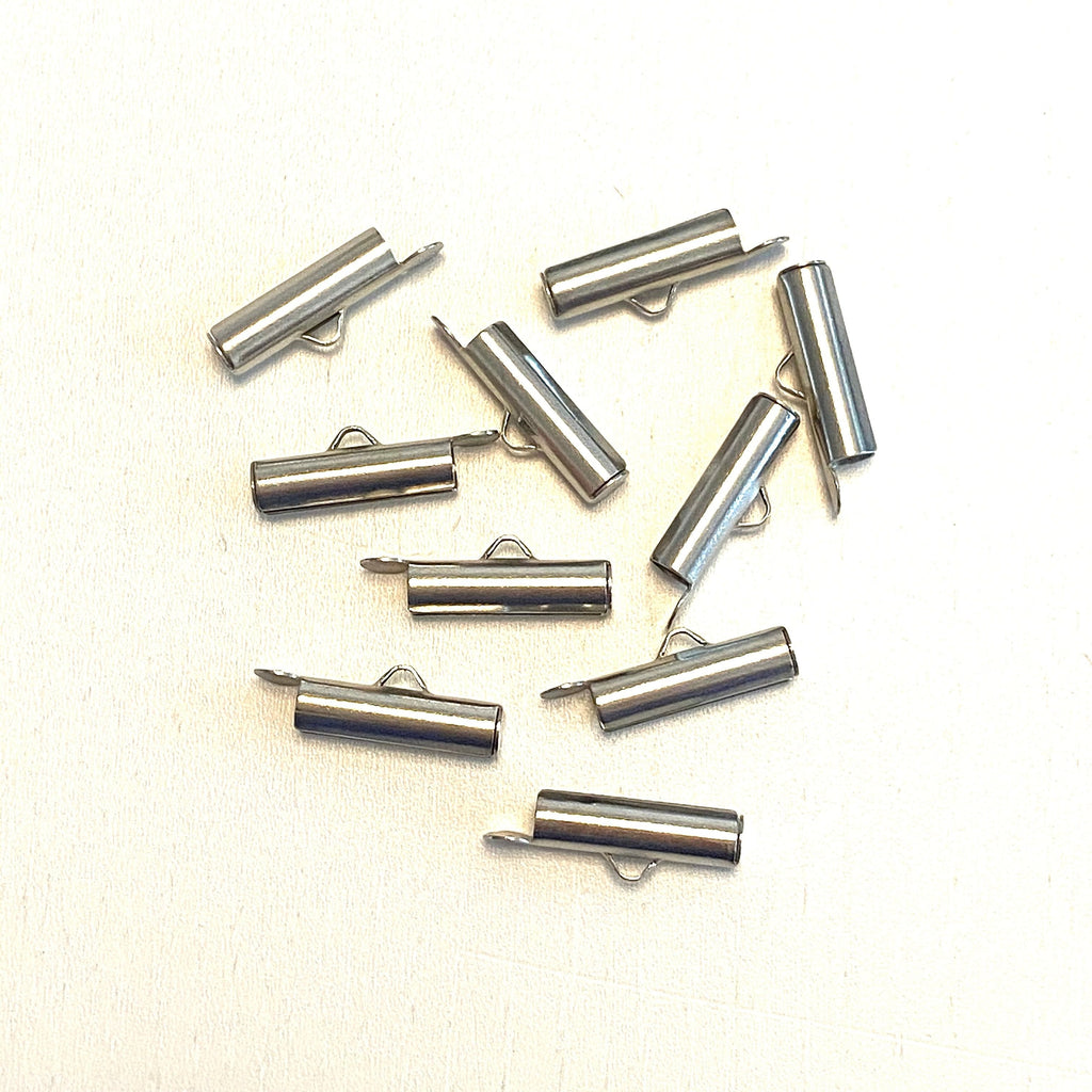 Miyuki Slide End Tubes, 15mm Silver Plated 10 Tubes in a pack