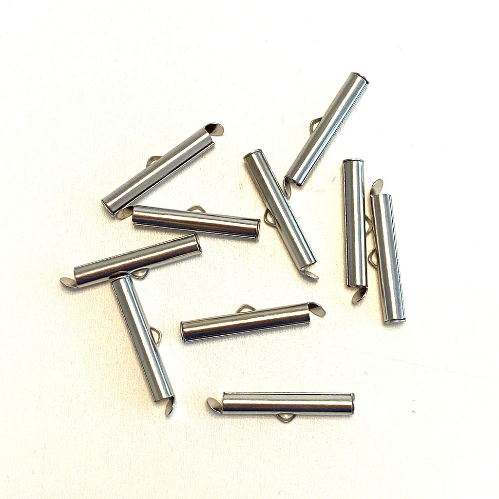 Miyuki Slide End Tubes, 25mm Silver Plated 10 Tubes in a pack