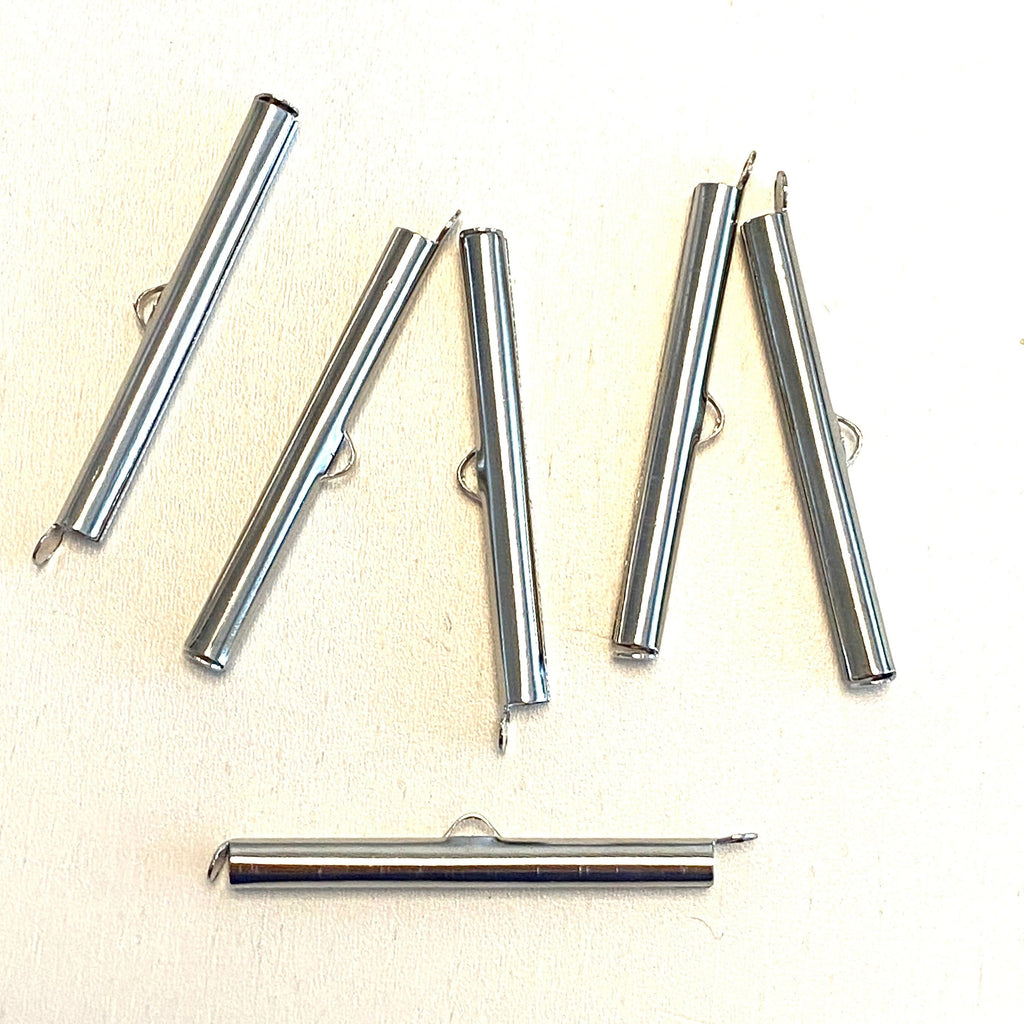 Miyuki Slide End Tubes, 40mm Silver Plated 6 Tubes in a pack
