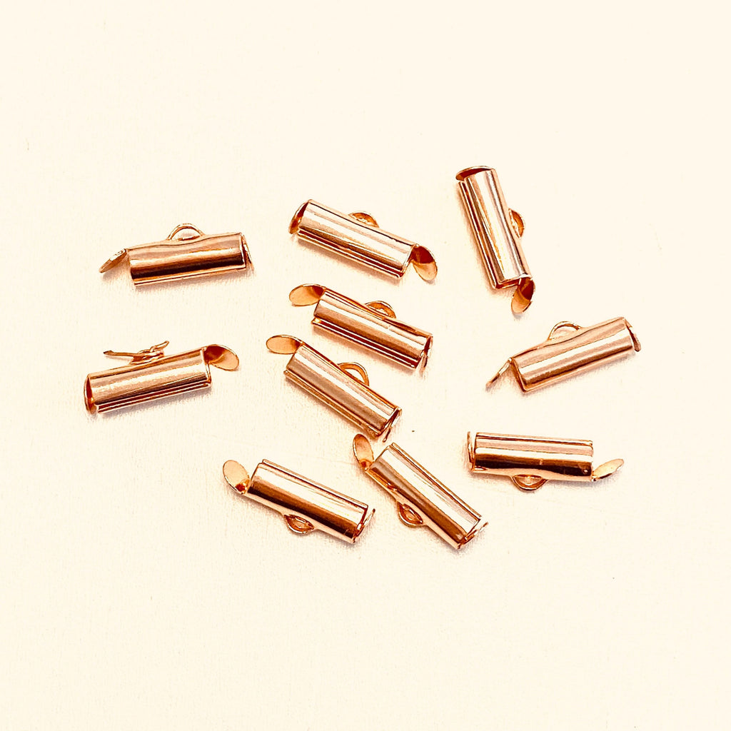 Miyuki Slide End Tubes, 13mm Rose Gold Plated 10 Tubes in a pack