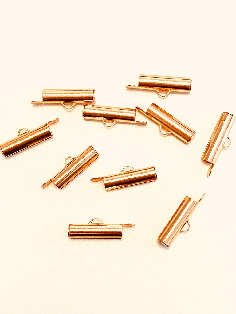 Miyuki Slide End Tubes, 15mm Rose Gold Plated 10 Tubes in a pack