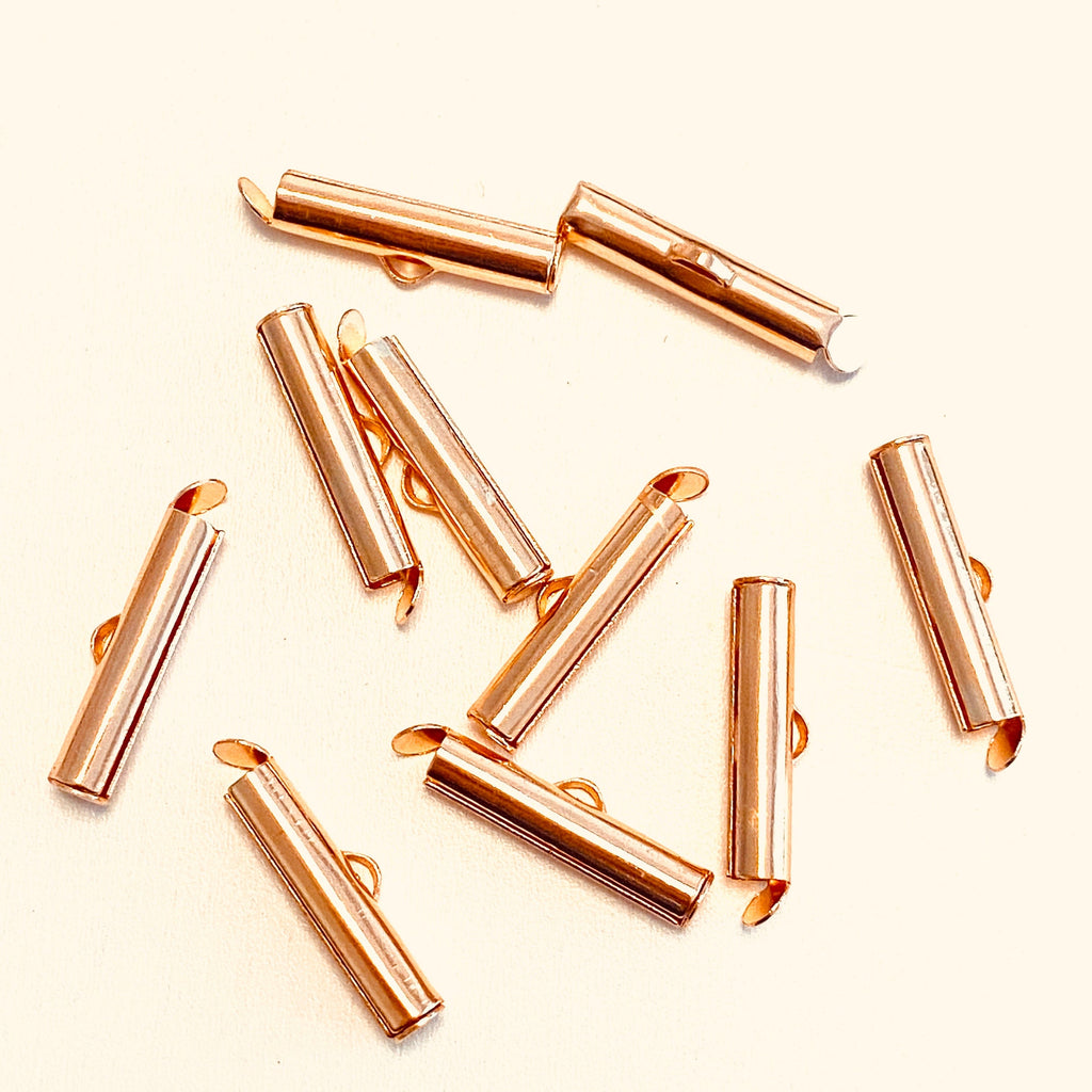 Miyuki Slide End Tubes, 20mm Rose Gold Plated 10 Tubes in a pack