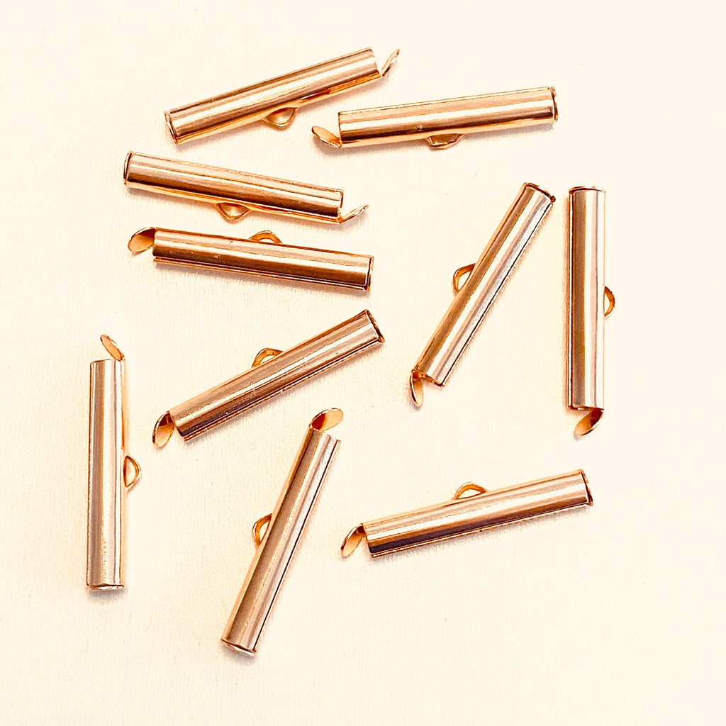 Miyuki Slide End Tubes, 25mm Rose Gold Plated 10 Tubes in a pack