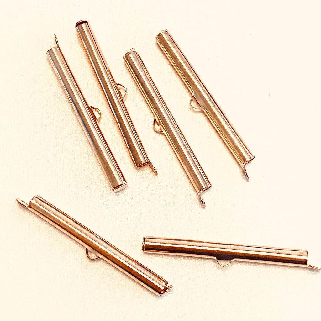 Miyuki Slide End Tubes, Rose 40mm Gold Plated 6 Tubes in a pack