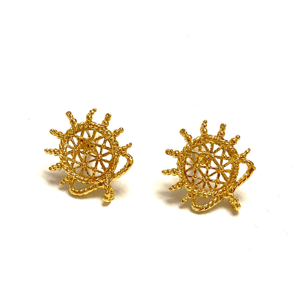 24Kt Gold Plated Brass Hittite Sun Disk Stud Earrings, 2 pcs in a pack,