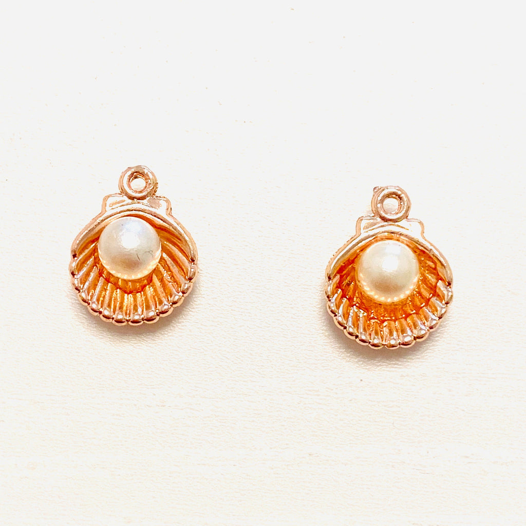 Rose Gold Oyster Charms With Pearl,  Rose Gold Plated Oyster Charms With Pearl, 2 pieces in a pack,
