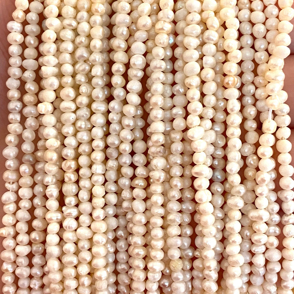 Creamy White Freshwater Pearls, 2,5x3,5mm,Small Ivory Potato Pearls, 16 Inches Strand,