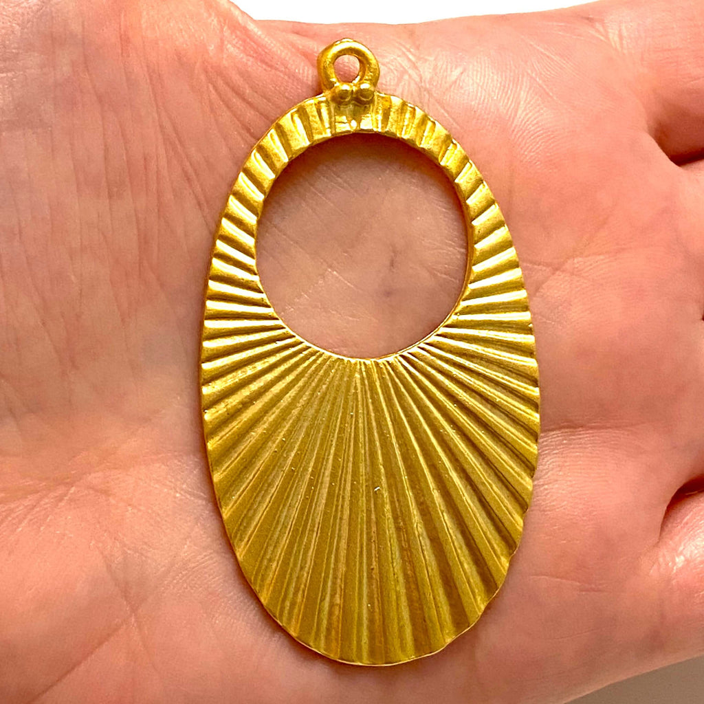 22Kt Matte Gold Plated Large  Pendant, 65mm Gold Plated Pendant