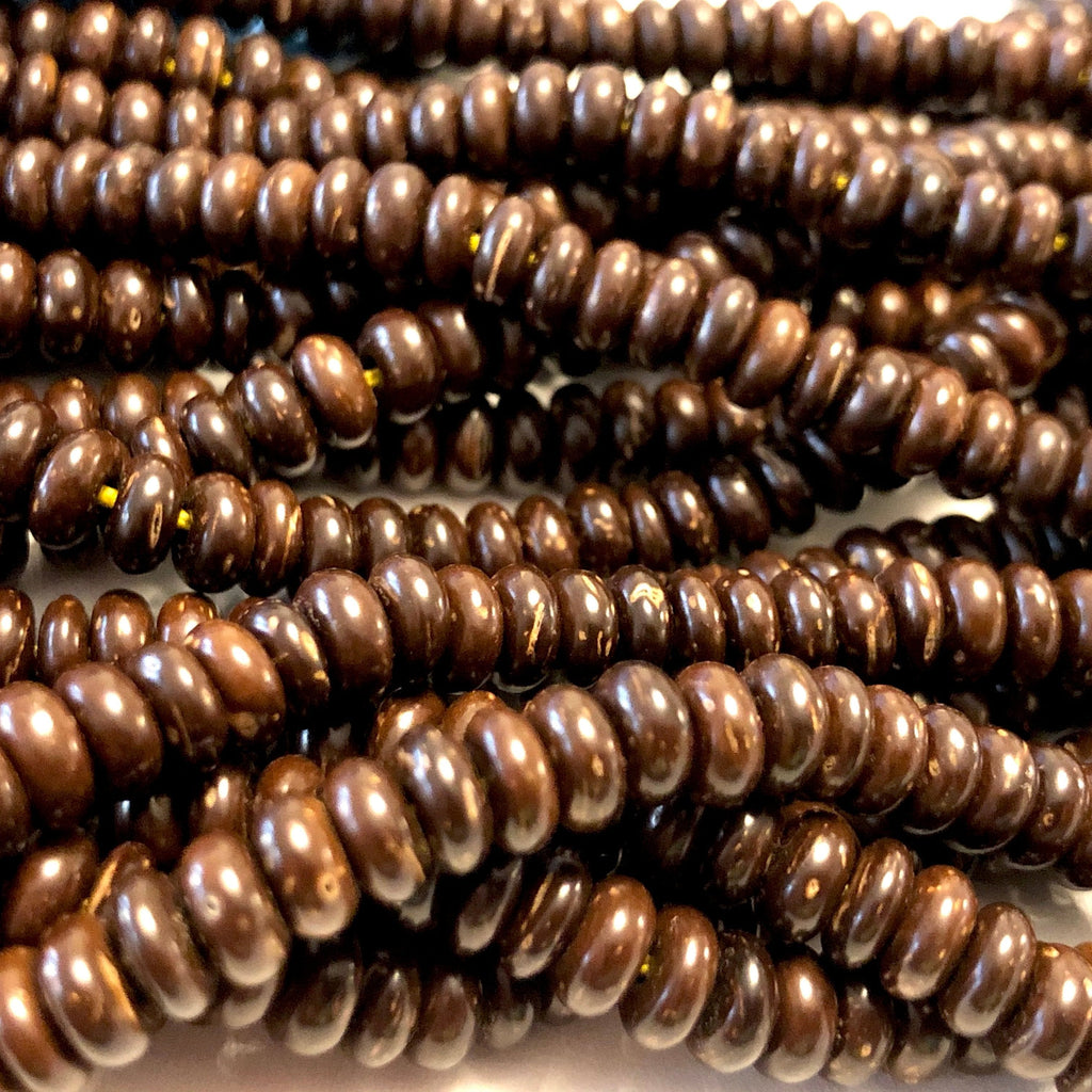 Coconut Wood Disk Beads, Real Coconut 5,5mm Disk Shape Spacer Beads, 110 Beads