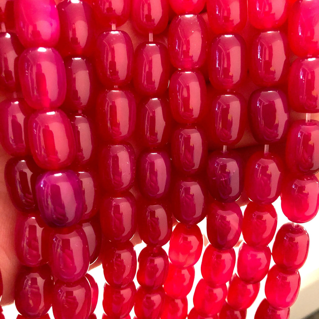Fuchsia Agate Gemstone Large Drop Beads, 28 Beads